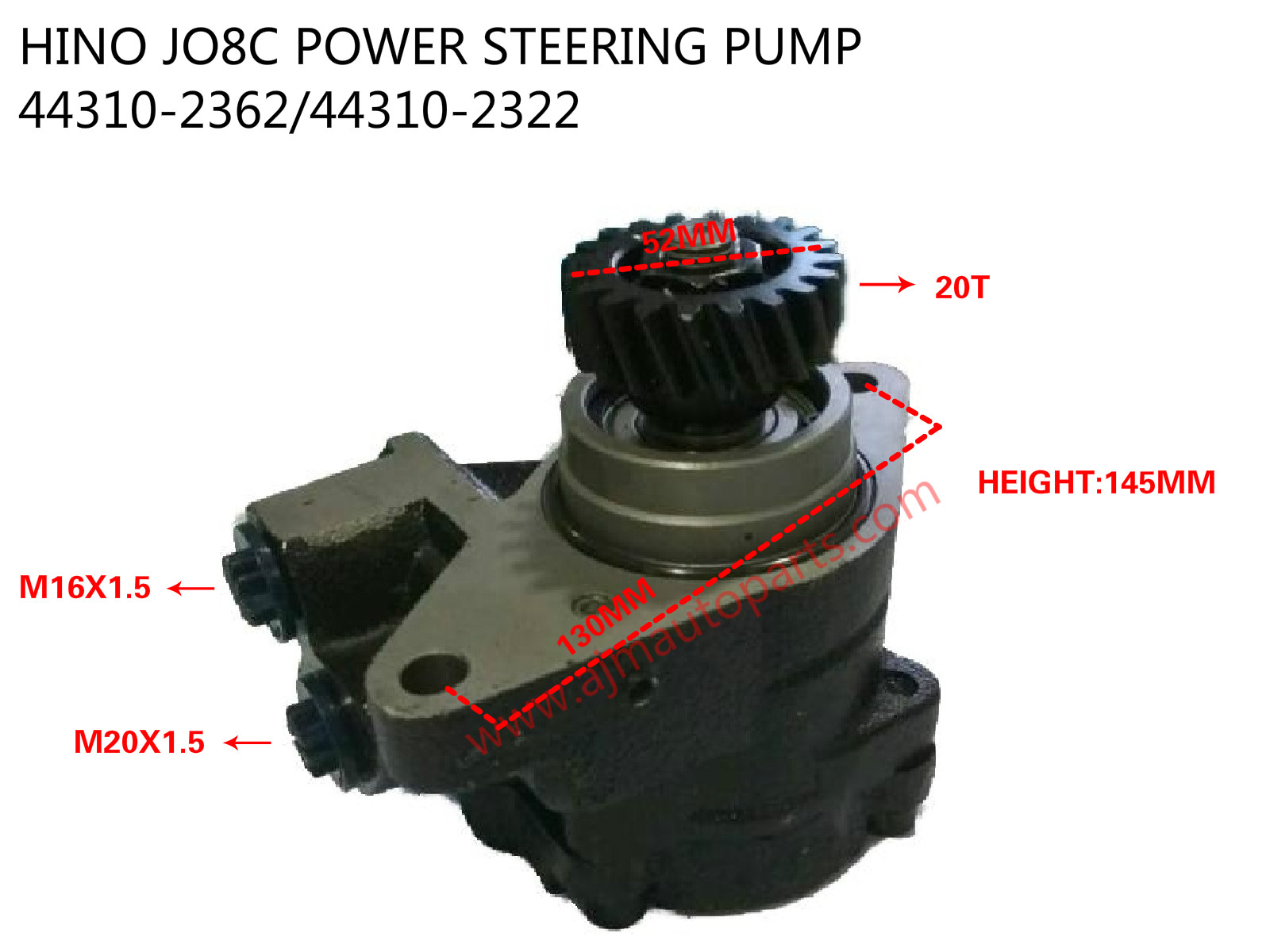 HINO JO8C POWER STEERING PUMP-44310-2362+44310-2322